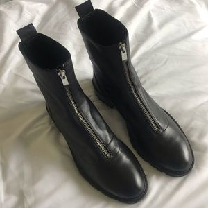 Zara Leather Zip Ankle Boot